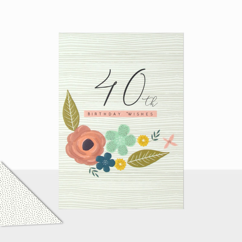 Floral 40th Birthday Wishes Birthday Card - product images  of
