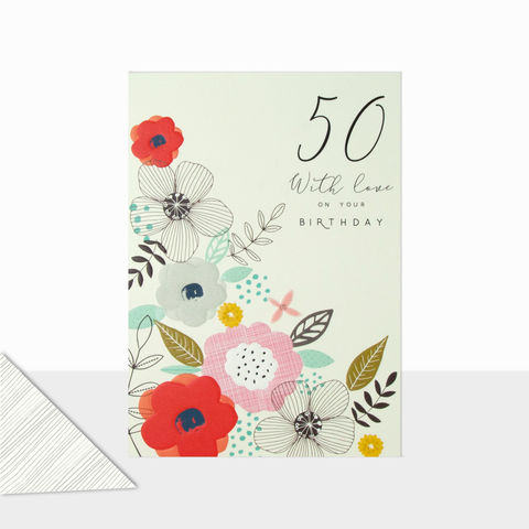 Floral,50th,With,Love,Birthday,Card,buy 50th birthday cards for her online, buy female age fifty birthday cards online, floral 50th birthday cards for her, buy age fifty birthday cards with flowers online, ladies birthday card for 50th with flowers, fiftieth birthday cards for her