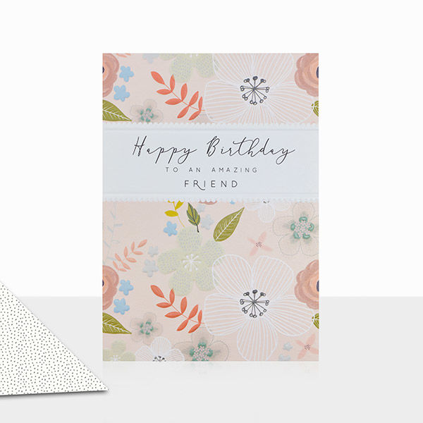 Floral To An Amazing Friend Happy Birthday Card - product images  of