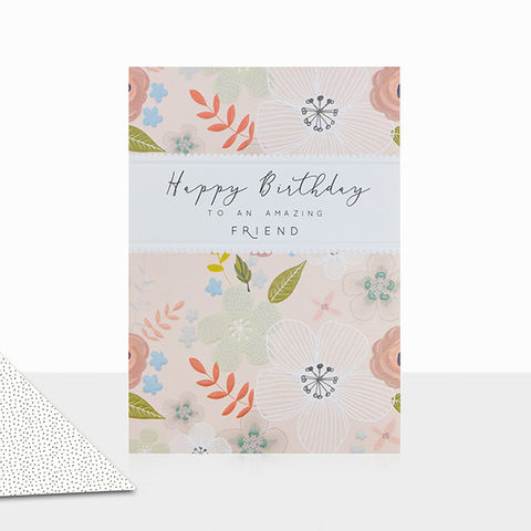 Floral,To,An,Amazing,Friend,Happy,Birthday,Card,buy friend birthday cards for her online, buy female friend birthday cards online, buy best friend birthday cards online with flowers, amazing friend birhday cards with flowers, special friend birthday cards for her, floral friend birthday cards