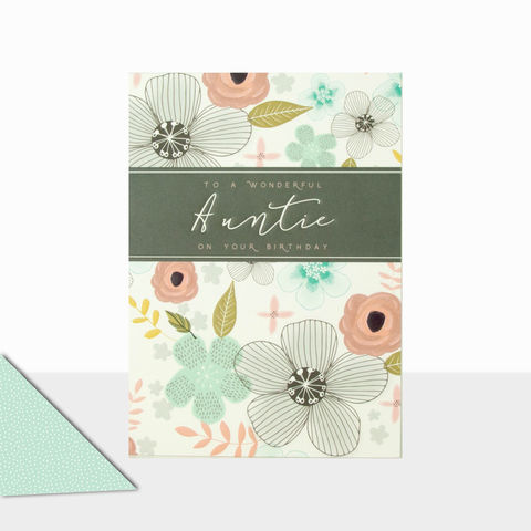 Floral,To,A,Wonderful,Auntie,Birthday,Card,buy auntie birthday cards with flowers online, buy auntie birthday cards online, buy wonderful auntie birthday cards online with flowers, floral birthday cards for aunties, aunty birthday card, flowers and leaves contemporary birthday cards for aunties