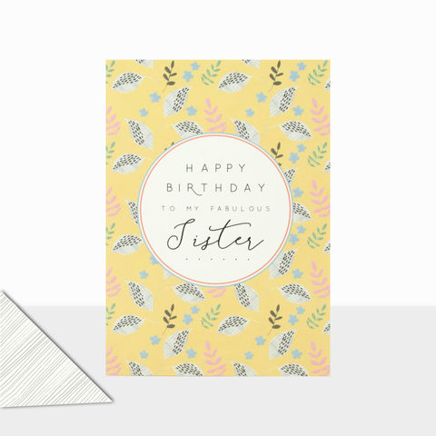 To,My,Fabulous,Sister,Happy,Birthday,Card,buy birthday cards for sister online, buy birthday cards for sisters online, buy nature birthday cards for sisters online, buy fabulous sister birthday card with leaves flowers nature online, cards for special siblings online