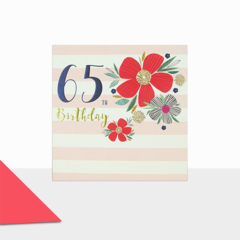 Flowers & Stripes 65th Birthday Card - product images  of