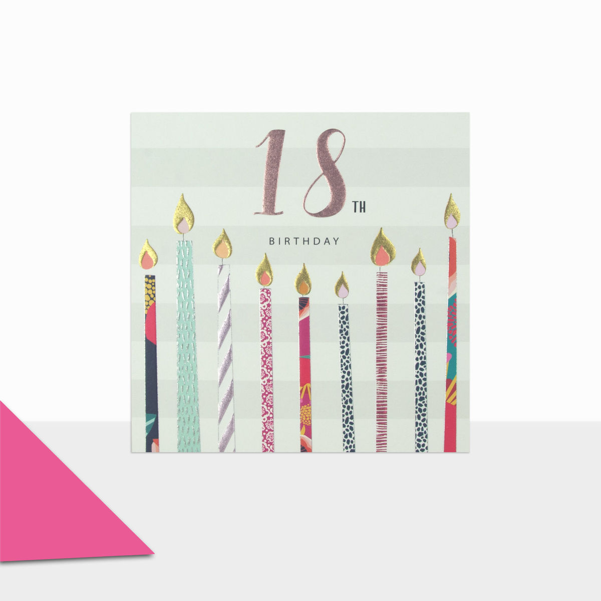 Candles & Stripes 18th Birthday Card