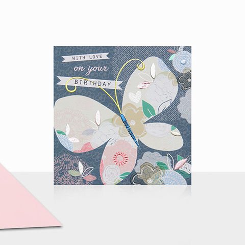 Butterfly,With,Love,On,Your,Birthday,Card,buy butterfly birthday cards for her online, buy birthday cards with butterflies online, buy pretty nature birthday cards for females online, buy summer birthday cards for her online, buy female birthday cards online