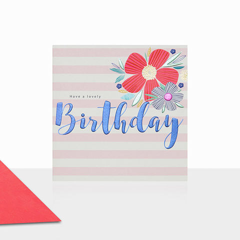 Flowers,&,Stripes,Birthday,Card,buy birthday card for her online, buy flower birthday cards for her online, buy floral birthday cards online, female birthday cards with flowers, buy gender neutral birthday cards online