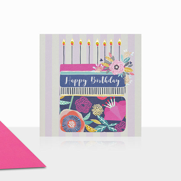 Birthday Cake & Stripes Happy Birthday Card - product images