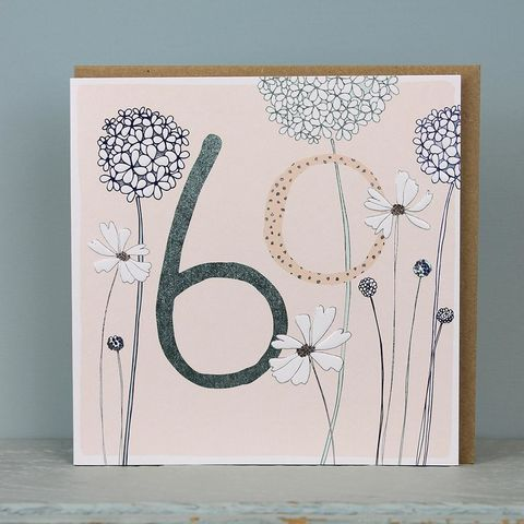 Floral,60th,Birthday,Card,buy  60th birthday card for her online, buy age sixty birthday cards online, buy sixtieth birthday card for her online, buy female 60th birthday card online, floral age sixty bithday card for her, 60th birthday card with flowers, pots of love sixtieth bir