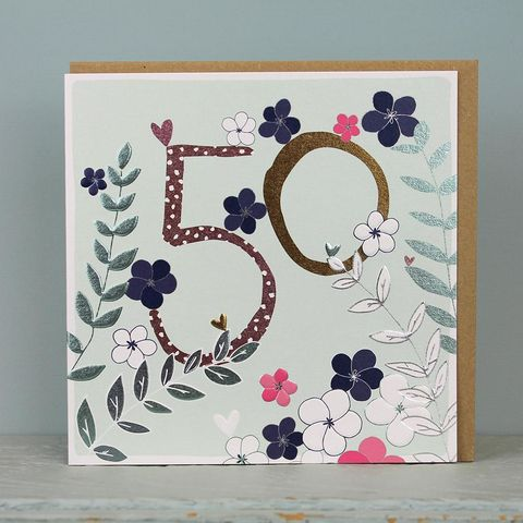 Floral,50th,Birthday,Card,buy 50th birthday card for her online, buy age fifty birthday cards online, buy fiftieth birthday card for her online, buy female 50th birthday card online, floral age fifty bithday card for her, 50th birthday card with flowers, floral 50th card