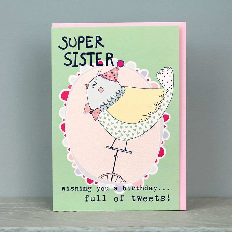 Bird Super Sister Birthday Card - product images