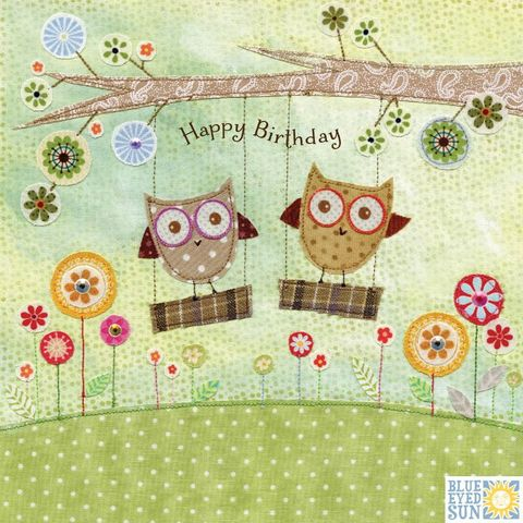 Owls,On,Swings,Birthday,Card,buy gender nuetral birthday cards with owls online, buy owl unisex brithday cards online, buy owls birthday cards for him onlinebuy owl birthday card online, buy birthday cards with owls online, buy birthday cards for her online, female birthday cards, gi