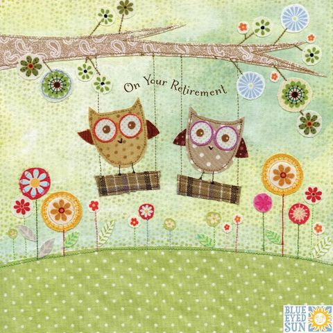 Owls,On,Swings,Your,Retirement,Card,buy gender nuetral retirement cards with owls online, buy owl unisex retirement cards online, buy on your retirement cards with owls online, buy cards for retiring online retirement cards for her, retirment cards for him