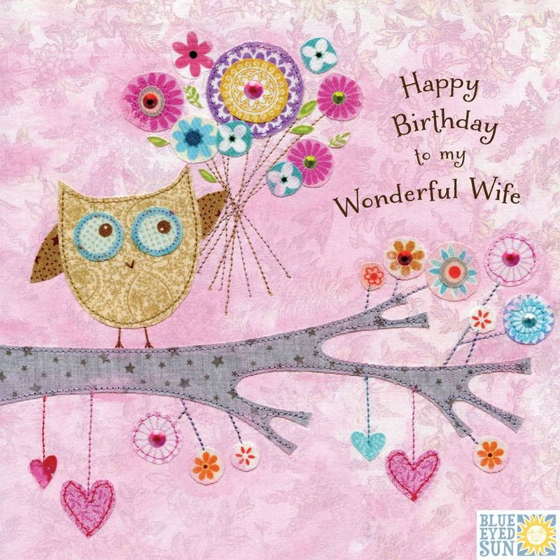 Owl Wonderful Wife Birthday Card - product images