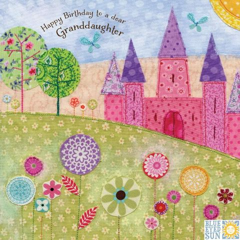 Dear,Granddaughter,Birthday,Card,buy granddaughter birthday cards online, buy birthday cards for granddaughters online, grand-daughter cards with pink castles, magical birthday cards for granddaughters, grandchild birthday card, brithday cards for grandchildren,