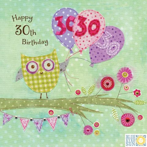 Owl,&,Balloons,30th,Birthday,Card,buy 30th birthday card online, buy owl 30th birthday card online, buy 30th birthday cards with owls online, buy 30th birthday cards with birds online, buy age thirty birthday cards for her online, buy thirtieth birthday cards for female online