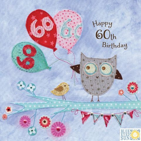 Owl,&,Balloons,60th,Birthday,Card,buy 60th birthday card online, buy owl 60th birthday card online, buy 60th birthday cards with owls online, buy 60th birthday cards with birds online, buy age sixty birthday cards for her online, buy sixtieth birthday cards online, gender neutral 60th