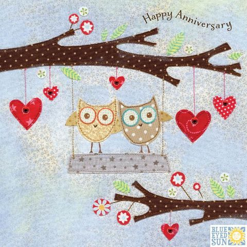 Owls,On,Swing,Happy,Anniversary,Card,buy anniversary card online, buy wedding anniversary cards online, buy cards for anniversaries online, happy anniversary card, buy wedding anniversary card online, buy hearts anniversary cards, buy owl anniversary cards, buy bird anniversary cards