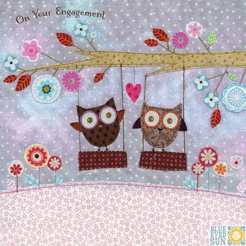 Owls,On,Swing,Happy,Engagement,Card,buy on your engagement card online, buy you are engaged cards online, buy cards for engagements online, congratulations on your engagement card, buy cards for special couple on their engagement, buy owl engagement cards online, buy romantic engagement car
