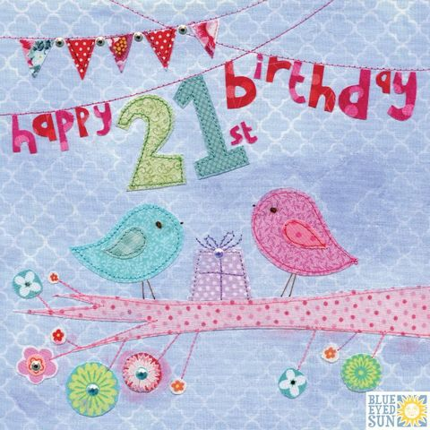Birds,&,Present,21st,Birthday,Card,buy 21st birthday card online, buy bird 21st birthday card online, buy 21st birthday cards with birds online, buy twenty-first birthday cards for her online, buy age twenty one birthday cards for her online, buy girls twenty first birthday card with birds