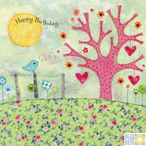 Bird,&,Tree,Birthday,Card,buy gender nuetral birthday cards with birds online, buy bird unisex birthday cards online, buy pretty birthday cards for her online, buy bird birthday cards for her online, buy pretty female birthday cards with nature online, embroidery birthday cards fo