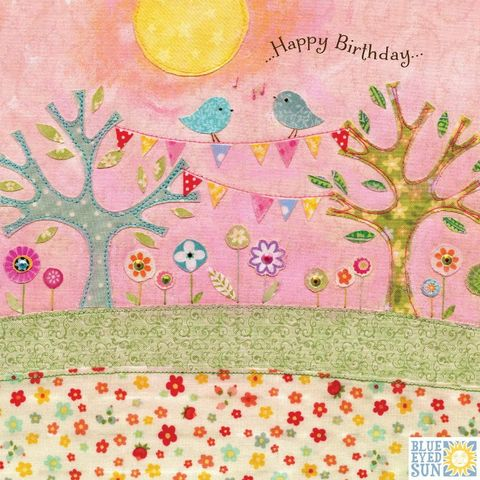 Trees,&,Birds,Birthday,Card,buy tree birthday cards for her online, buy garden birthday cards for her online with nature, flowers, trees, birds, bunting, buy pretty birthday cards for her online, buy bird birthday cards for her online, buy pretty female birthday cards with nature on