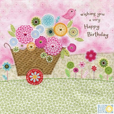 Wheelbarrow,&,Bird,Birthday,Card,buy wheelbarrow gardening birthday cards for her online, buy garden birthday cards for her online with nature, flowers, trees, birds, bunting, buy pretty birthday cards for her online, buy bird birthday cards for her online, buy pretty female birthday car