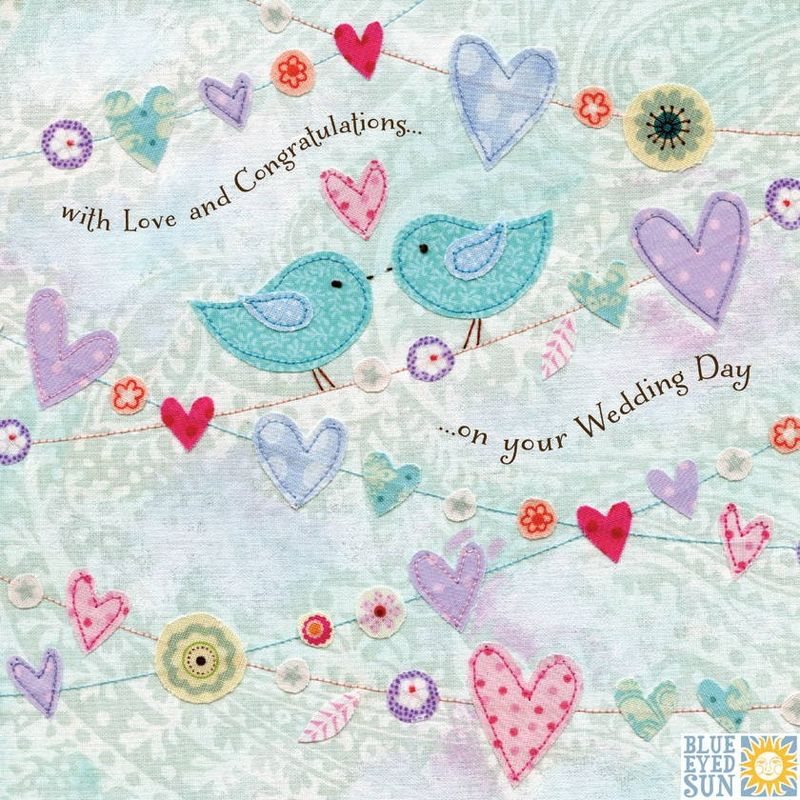 Birds & Heart Bunting Wedding Day Card - product images