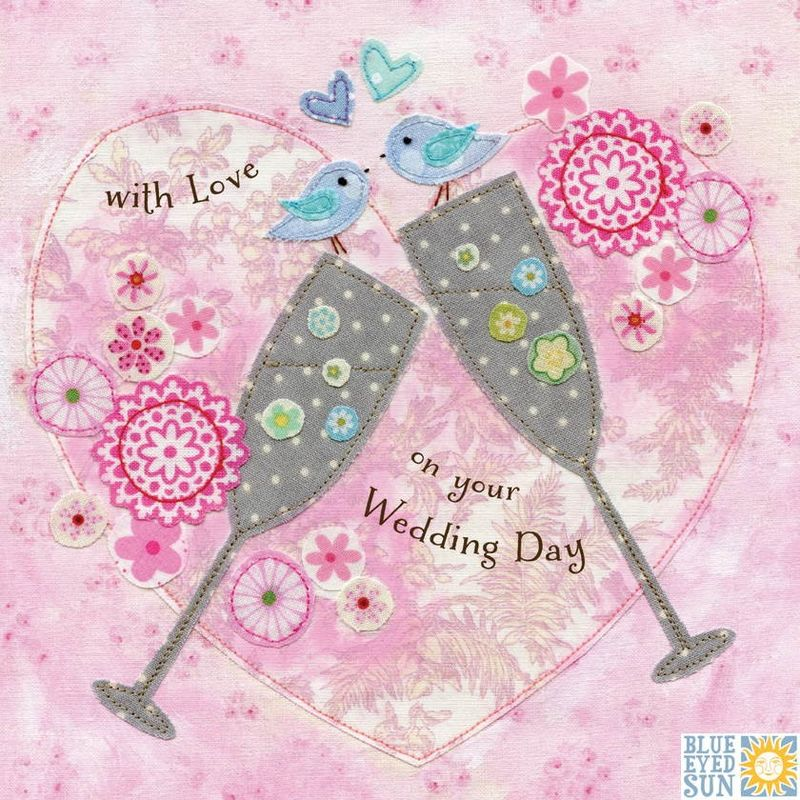 Champagne Flutes & Birds Wedding Day Card - product images