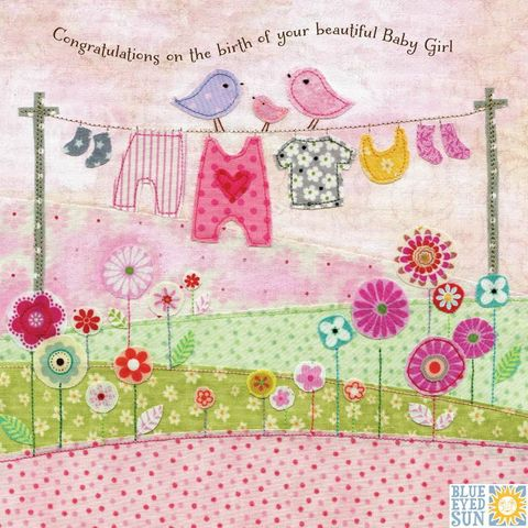 Birds,&,Washing,Line,Beautiful,Baby,Girl,Card,buy baby girl cards online, buy cards for new baby online, buy congratulations card for new baby girl online, buy washing line new baby card online, buy pink new baby cards for beautiful baby girl, buy bird new baby cards online