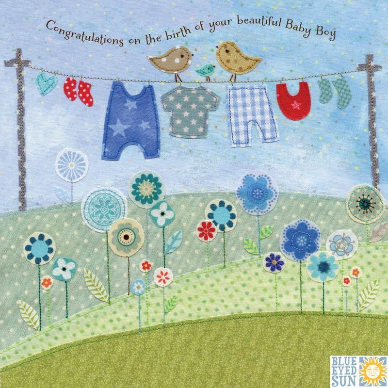 Birds & Washing Line Beautiful Baby Boy Card - product images