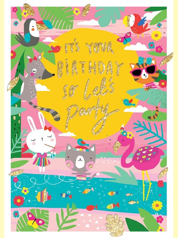 Tropical Oasis Animal Birthday Card - product images  of