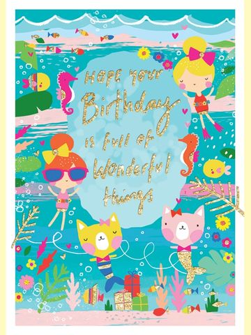 Mermaid,Girls,Birthday,Card,buy animal birthday card for child online, buy girls birthday cards online, buy mermaid birthday card for girls online, buy rachel ellen kids birthday cards online birthday cards with mermaids, birthday cards with animals