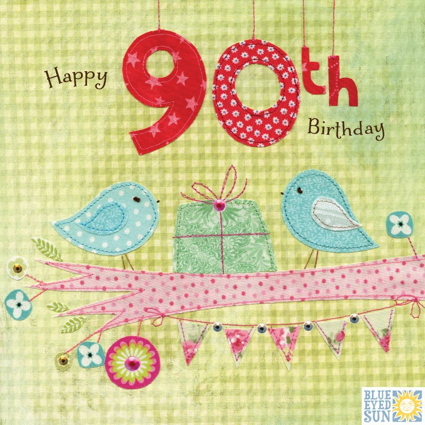 buy 90th birthday card for her with birds online from karenza paperie