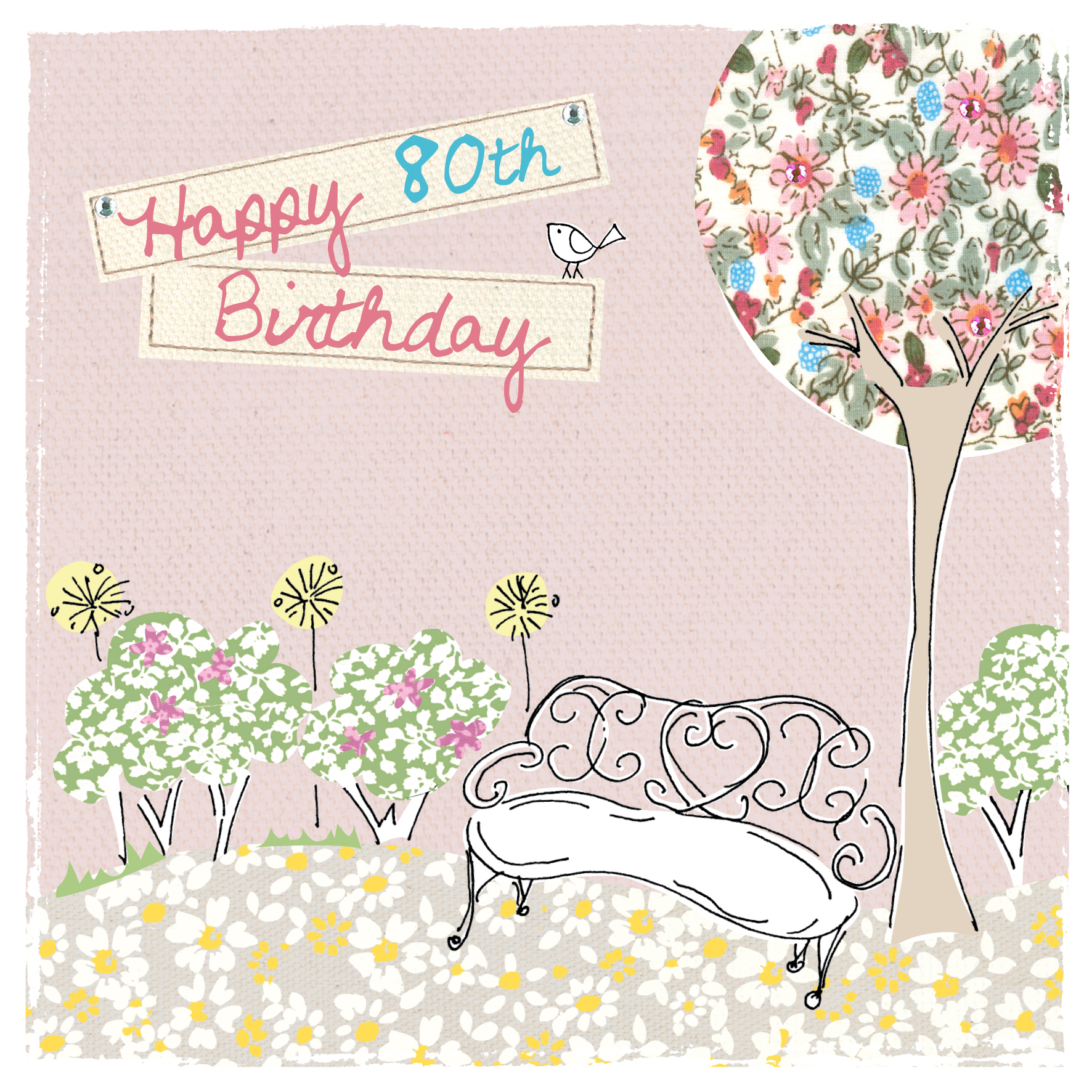 buy 80th birthday cards for her online with garden bench flowers tree at karenza paperie