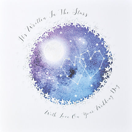 It's Written In The Stars Card - Large, Luxury Wedding Day Card - product images  of