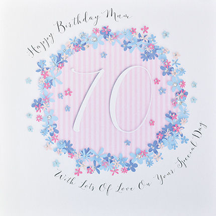 Floral Mum 70th Birthday Card - Large Luxury Birthday Card - product images  of
