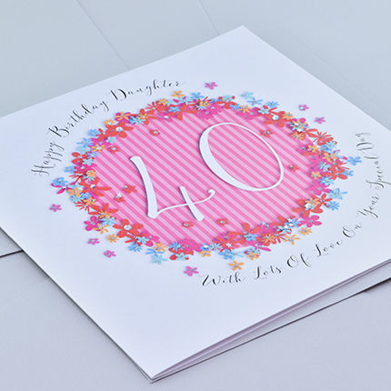Floral Daughter 40th Birthday Card - Large Luxury Birthday Card - product images  of