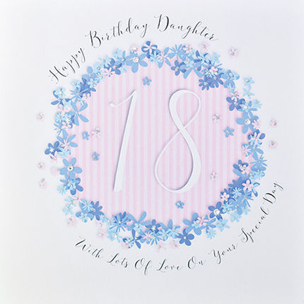 Floral,Daughter,18th,Birthday,Card,-,Large,Luxury,buy daughter 18th birthday card online, buy 18th birthday card for daughter, buy deluxe birthday cards online, buy large daughter birthday cards online, buy luxury eighteenth birthday cards online for daughters, age eighteen birthday card for daughter, 30