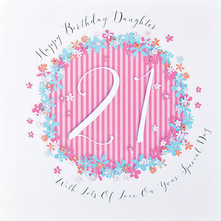 Floral Daughter 21st Birthday Card - Large Luxury Birthday Card - product images  of