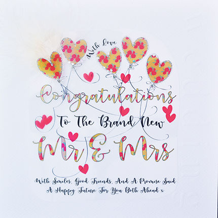 Handmade Congratulations Mr & Mrs Wedding Card - Large, Luxury Wedding Card - product images  of
