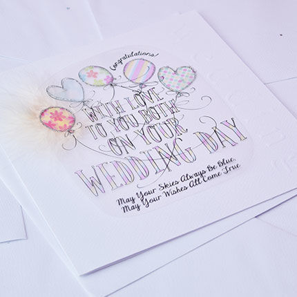 Handmade May Your Skies Always Be Blue To You Both On Your Wedding Day Card - Large, LuxuryCard - product images  of