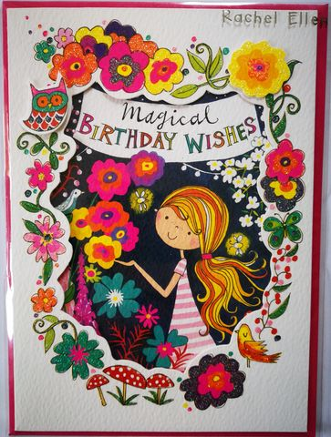 Magical,Birthday,Wishes,Girl,Card,buy pretty birthday card for girls online, buy magical birthday cards for girls online, buy birthday cards with fairies online, buy animal cards for birthday girls online, buy rainbow and toadstool birthday cards online