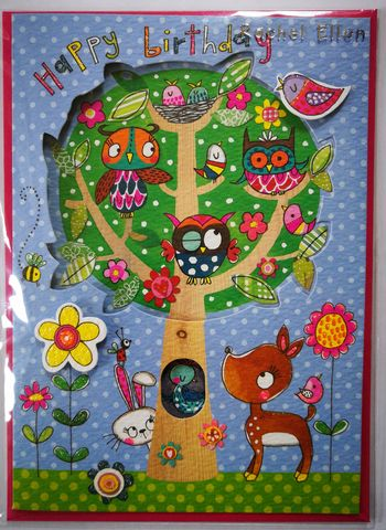 Owls,In,Tree,Birthday,Card,buy pretty birthday card for girls online, buy owl birthday cards for girls online, buy girls birthday cards with owls online, buy birthday cards with birds online, buy birthday cards for kids with animals online