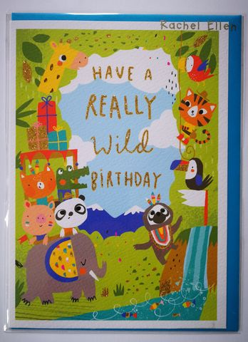 Really,Wild,Jungle,Animal,Birthday,Card,buy jungle animal birthday card for child online, boy boys birthday cards online, buy kids birthday cards with animals online, buy cute birthday cards for kids online, buy rachel ellen kids birrhday cards online