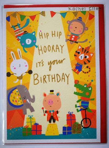 Circus,Hip,Hooray,Birthday,Card,buy animal birthday card for child online, boy boys birthday cards online, buy kids birthday cards with animals online, buy cute birthday cards for kids online, buy rachel ellen kids birrhday cards online, buy circus birthday cards online