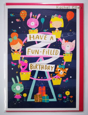 Ferris,Wheel,Girls,Birthday,Card,buy animal birthday card for child online, boy girls birthday cards online, buy ferris wheel birthday cards with animals online, buy cute birthday cards for kids online, buy rachel ellen kids birrhday cards online, buy circus birthday cards online