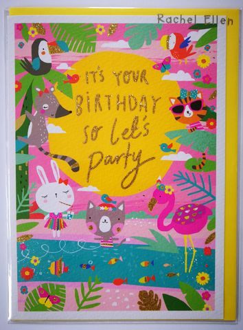 Tropical,Oasis,Animal,Birthday,Card,buy animal birthday card for child online, buy girls birthday cards online, buy tropical oasis birthday cards with animals online, buy cute birthday cards for kids online, buy rachel ellen kids birrhday cards online, buy circus birthday cards online
