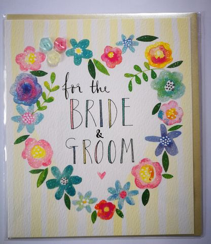 Heart,Of,Flowers,Bride,&,Groom,Wedding,Card,buy wedding cards online, buy bride and groom cards online, buy heart wedding day cards online, buy floral wedding cards online, buy pretty romantic wedding cards for bride and groom online, buy wedding card with flowers online