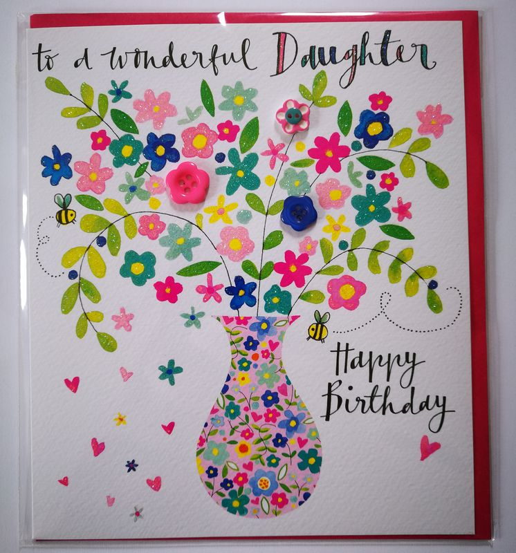 Vase Of Flowers Daughter Birthday Card - product images  of