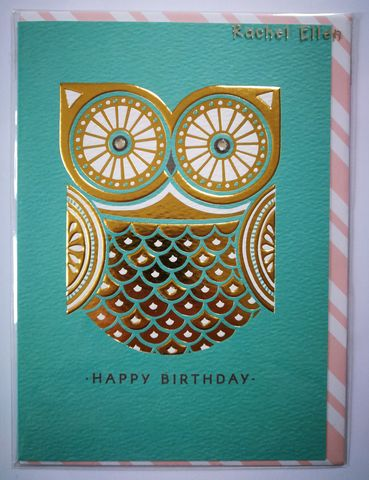 Owl,Happy,Birthday,Card,buy birthday cards for her online, buy birthday cards with owls online, buy owl birthday cards online, buy unisex bird birthday cards online, buy  birthday cards with birds online